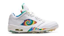 New Nike Air Jordan 5 V Low Golf Cleats Peace Love Tie Dye CW4205-100 Size 12