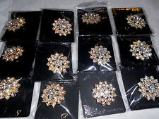 wholesale Lot of 12 pcs pretty Vintage  Brooches/pin for Wedding color Gold.