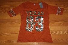 NWT Womens KNIGHTS TEXAS LONG HORNS 1/2 Sleeve Shirt L Large