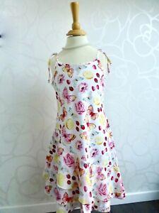 MONNALISA Bimba ❤️ Trägerkleid Sommerkleid Kleid Dress weiß rosa 8 128 134 140