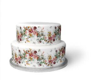 A4 Edible Decor Icing Sheet Vintage Flower Rose Ribbon Border for larger cakes