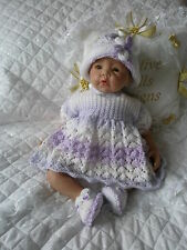 "Creative Dolls Designs Knitting Pattern Dress Set 17-22"" Dolls 0-3 Month Baby"