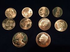 Zombucks Complete Set of 10 1oz Copper Bullion Rounds Uncirculated