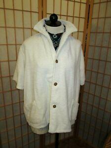 Vintage 1960s Beach Jacket Shirt Terry Towel cloth M-L Mens~Pockets~James Bond