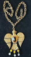 "Vintage  Large Gold Articulated Dove Pendant, Necklace 3.25"", possibly Cadoro"