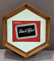 Vintage 1967 Black Label Beer Sign Light Working Wall Plastic Faux Wood