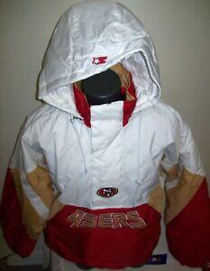 SAN FRANCISCO 49ERS Limited Ed NFL Starter Hooded Half Zip Pullover Jacket WHITE