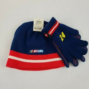 Jeff Gordon #24 DuPont NASCAR Youth Blue and Red Beanie & Gloves! NEW Chase