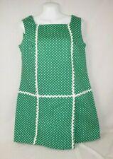 Vtg 60s Byer Green White Flowers Mod Skort Romper Playsuit Mini Dress Sz 13/14