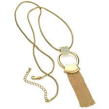 Impresionante Anillo De Cristal De Oro Lazo Cadena Collar de longitud con borlas de 100cm de largo