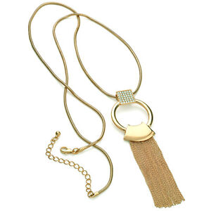 Stunning gold crystal ring loop chain tassel 100cm long length necklace