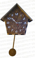 Orologio a Pendolo da parete muro con struttura in Legno di 8 mm incisione co2