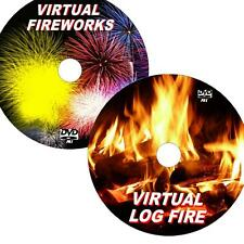 VIRTUAL LOG FIRE & FIREWORKS GREAT 2 DVD VIDEO SET VIEW ON FLATSCREEN TV/PC NEW