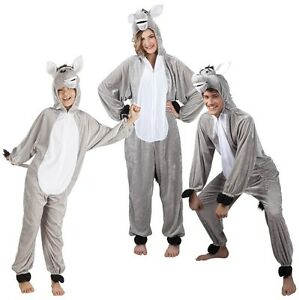 Esel Eselkostüm Eseloverall Overall Tier Kostüm Damen Herren Kinder Pferd grau