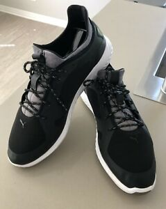 Puma Men's Golf Shoes, IGNITE PWRFRAME, Lace, Waterproof, BLK, US size 10.5
