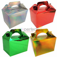 10 Metallic Party Boxes - Choose From 4 Colours - Food Lunch Cardboard Christmas