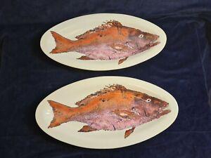 "Oval Fish Platter Plates X2 18.5"" Mutton Snapper  'Gyotaku'  L'art pour la table"