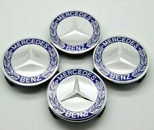 4 Caches Moyeu Mercedes 75mm bleu  Logo embleme Jante Centre De Roue dark blue