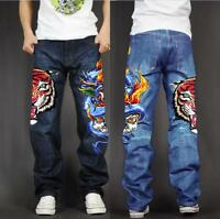 Men's Skate Baggy Loose Rap Hip Hop Jeans Denim Print Trousers Long Pants 78kk