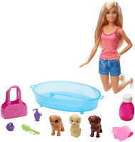 Barbie Doll GDJ37 Blonde and Playset with 3 Puppies and Accessories