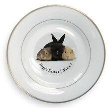 Personalised Rabbit+Guinea Pigs Gold Rim Plate in Gift Box Christmas , AR-9PEAPL