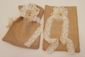 """2 pc. Burlap 9"""" X 12"""" Gift Bags Wrapping Sack Shabby/Country W/Vtg. Lace, Lined"""