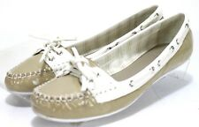 Coach Percy $125 Women's Boat Shoes Size 8 Patent Leather Beige White