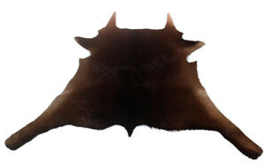 """Cowhide Rugs Calf Hide Cow Skin Rug (29""""x36"""") Dark Brown & Beige edges CH8244"""