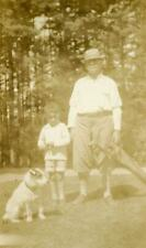 At36 Vintage Photo Grandpa Golf Clubs Boy & Russell Terrier Dog, Vt c 1920's