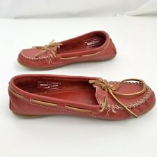 Minnetonka Women Red  Leather Flat Moccasins Boat Loafer Shoes Size 5
