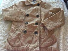 Gap Kids Girls Light Brown Buttons Corduroy Long Sleeve Coat White Lined 7-8