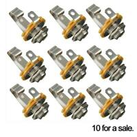 "10pcs 1/4"" 6.35mm  Mono Input Jack Socket Electric Guitar Bass Audio Gift Re"