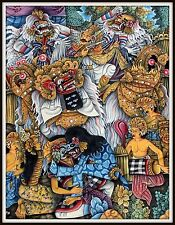 """Original """"Traditional Balinese Painting""""  """"The Barong Dance""""  35"""" h x 27.5"""" w"""