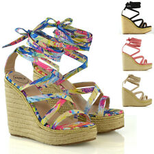 Womens Wedge Heel Platform Sandals Ladies Espadrilles Lace Up Strappy Shoes Size