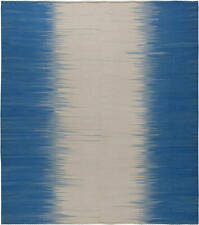 Contemporary Turkish Modernist Beige and Blue Kilim Wool Rug N10855