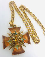 ART Arthur Pepper Topaz Glass Maltese Cross Necklace Signed Vintage Jewelry
