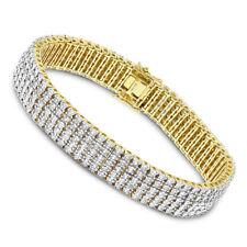 "Men's 5-Row 2Ct Diamond 14K 2-Tone Gold  8.5"" Tennis Bracelet Over 925 Silver"
