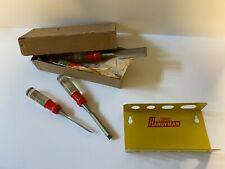 "Vintage ""Stanley Handyman"" Brand Chisel Set With Wall Mount Holder; NOS"