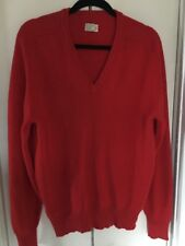 Made In England Vtg Red Sweater 100% Cashmere V Neck Sz 42