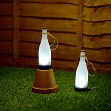 2 x Frosted Plastic Solar Powered LED Bottle Garden Lights Decorative Outdoor