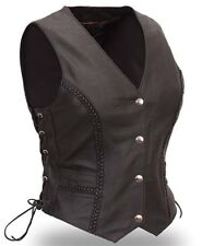 Ladies Women Real Leather Short side lace Motorcycle Biker Waistcoat Vest Gilet