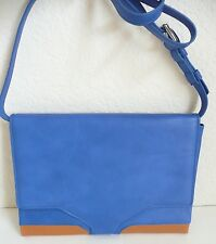 Tusk Orion Crossbody Bag Clutch Wallet Large Pocket Cobalt Blue Tan Leather NWT