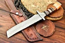 Rare!!! Custom Hand made Damascus Steel Blade Hunting Knife   Stained Camel Bone