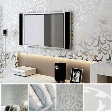 3DVictorianDamaskEmbossedWallpaperRolls Feature TV Background Decor Silver