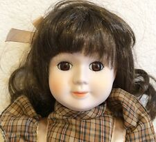 """Heritage Dolls Musical Porcelain Doll White Brown Hair Collectible 17"""" Lovely"""