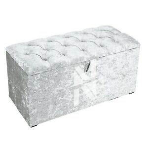 CRUSH VELVET OTTOMAN STORAGE BOX FOR TOYS OR BEDDING