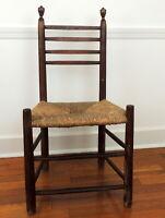 Vintage Antique Primitive Wood Chair Ladder Slat Back Rush Seat LOCAL PICK UP