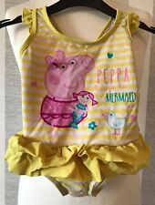 Girls PEPPA PIG Yellow And Pink Striped Frill Swimming Costume Age 2-3 Years Old