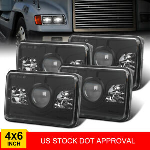 "4PCS DOT 4x6"" LED Rectangle Hi&Lo Headlights For Kenworth Peterbilt Freightliner"