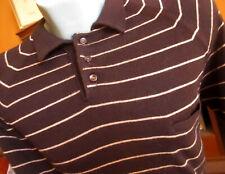Xl True Vtg 80s Brown Thin Knit Polo Collar Ls Nerd Geek Henley Shirt
